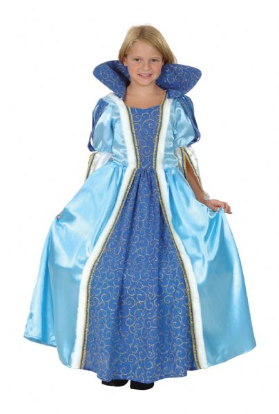 Girls Blue Princess Costume Royal Fairytale Beautiful hero Fancy Dress Outfit